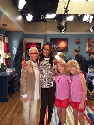 "Irene with Tia Mowry and Abby & Tate on the set of ""Instant Mom"""