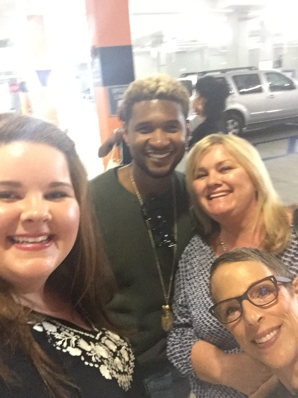 Ran into Usher after a meeting at Amazon Studios, with Liberty and her mother