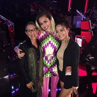 So happy to be with Miley and Adrianna for a taping of The Voice